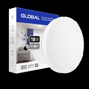 Накладной светильник GLOBAL 18W 4100К (защита IP44) круг