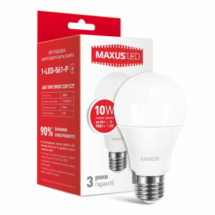 LED лампа MAXUS A60 10W теплый свет E27 (1-LED-561-P)