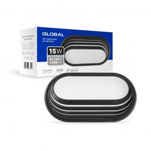 Антивандальный LED-светильник GLOBAL GBH 06 15W 5000K черный (эллипс)