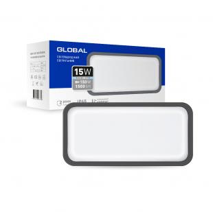 Антивандальный LED-светильник GLOBAL GBH 08 15W 5000K графит (прямоугольник)