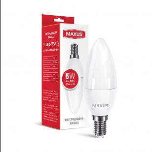 Лампа світлодіодна MAXUS 1-LED-732 C37 5W 4100K 220V E14