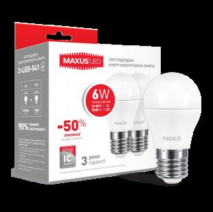 Набор LED ламп MAXUS G45 6W теплый свет E27 (2-LED-541-P)