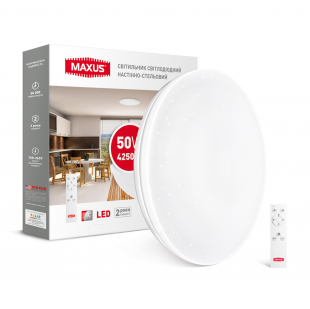 Умный светильник MAXUS 50W (пульт, димминг, температура, таймер, ночник и др.)