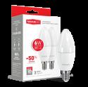 Набор LED ламп MAXUS C37 6W теплый свет E14 (по 2 шт.) (2-LED-533)