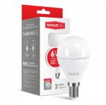 LED лампа MAXUS G45 6W теплый свет E14 (1-LED-543)