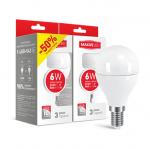 Набор LED ламп MAXUS G45 6W теплый свет E14 (2-LED-543)
