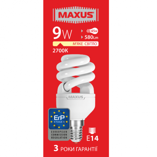 КЛЛ лампа 9W теплый свет Xpiral Е14 220V (1-ESL-337-11)