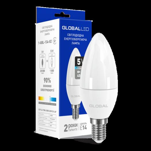 LED лампа Global C37 CL-F 5W яскраве світло 220V E14 (1-GBL-134-02)