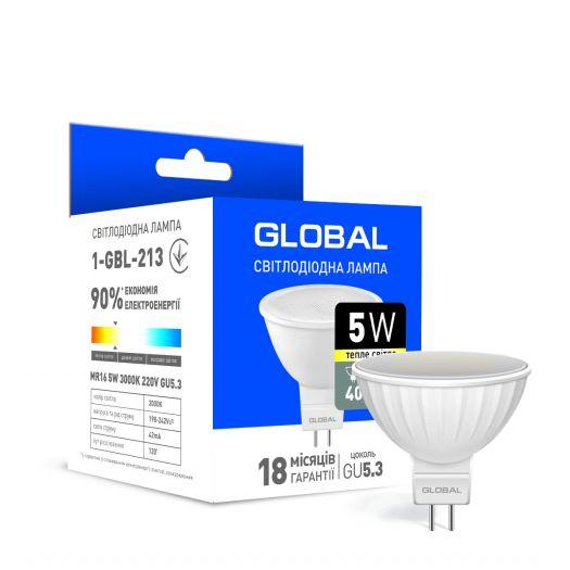 Світлодіодна лампа Global MR16 5W тепле світло GU5.3