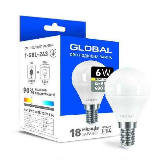 Светодиодная лампа Global G45 F 6W теплый свет E14