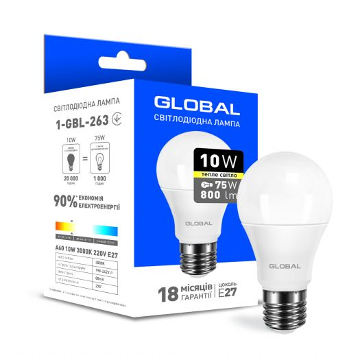 Світлодіодна лампа Global A60 10W тепле світло E27
