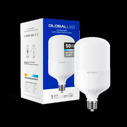LED лампа (потужна) Global 50W 6500K E27 / E40 холодне світло (1-GHW-006-3)