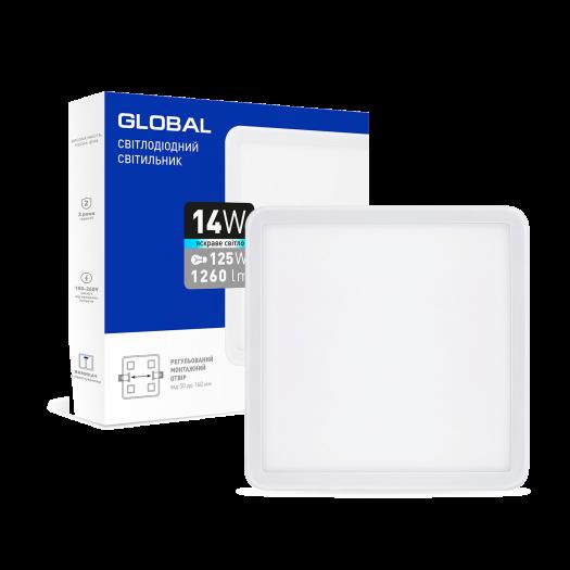 LED-світильник точковий врізний GLOBAL SP adjustable 14W, 4100K (квадрат)