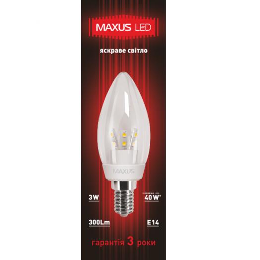 LED лампа MAXUS 3W яркий свет C37 Е14 220V (1-LED-266)