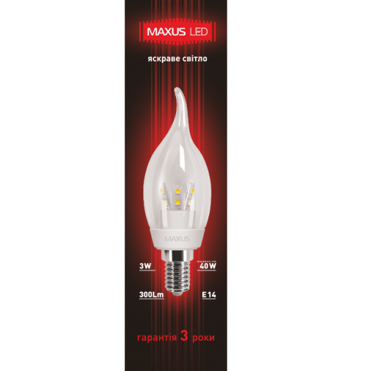 LED лампа 3W яркий свет C37 Е14 220V (1-LED-268)