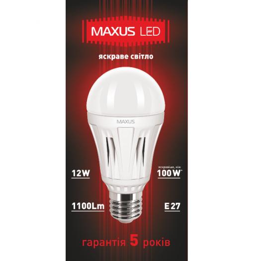 LED лампа MAXUS 12W яркий свет А60 Е27 220V (1-LED-348)