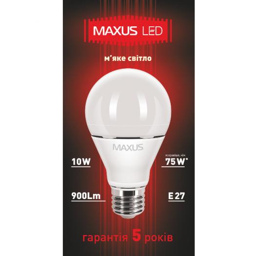 LED лампа MAXUS  10W теплый свет А60 Е27  (1-LED-369)