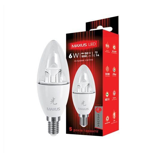 LED лампа MAXUS 6W яркий свет C37 Е14 (1-LED-422)
