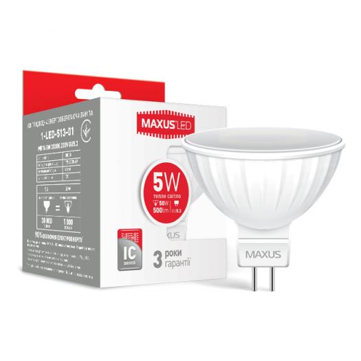 LED лампа MAXUS MR16 5W теплый свет GU5.3 AP (1-LED-513-01)