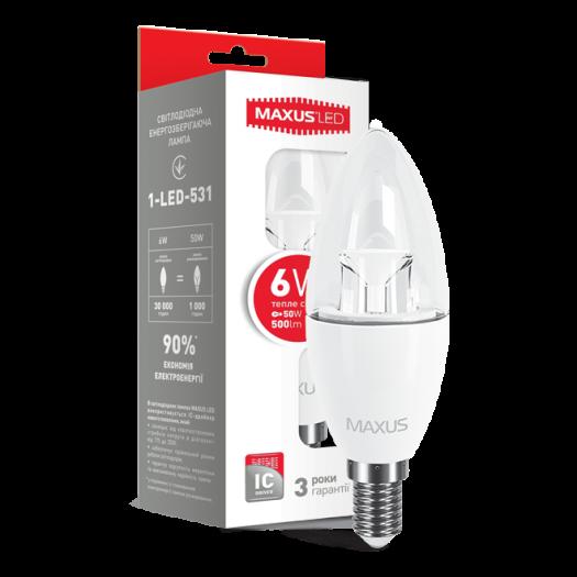 LED лампа Maxus C37 6W тепле світло E14 (1-LED-531)