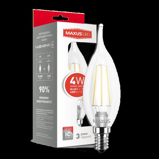 LED лампа Maxus (filament) C37 TL 4W тепле світло E14 (1-LED-539-01)