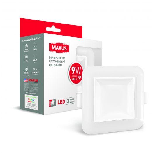 Умный LED светильник точечный врезной MAXUS 3-step 9W (сменные яркость и тон) квадрат