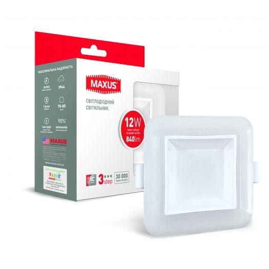 Умный LED светильник точечный врезной MAXUS 3-step 12W (сменные яркость и тон) квадрат
