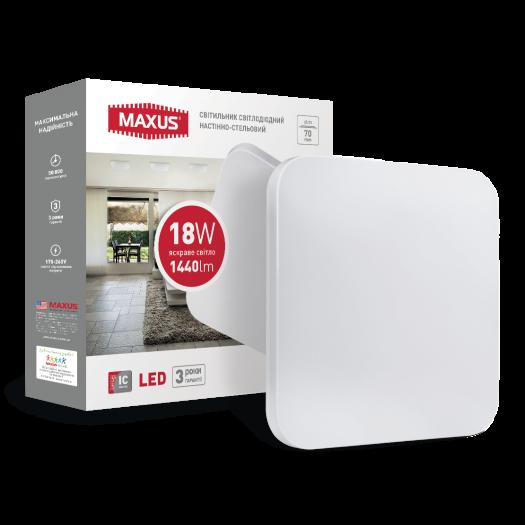 Cветильник накладной MAXUS 18W 4100K (тонкий дизайн, IP40) квадрат