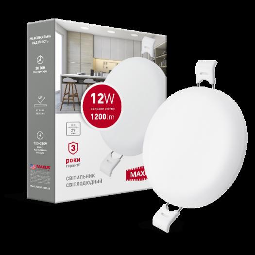 LED светильник точечный врезной MAXUS SP edge 12W, 4100К (круг)