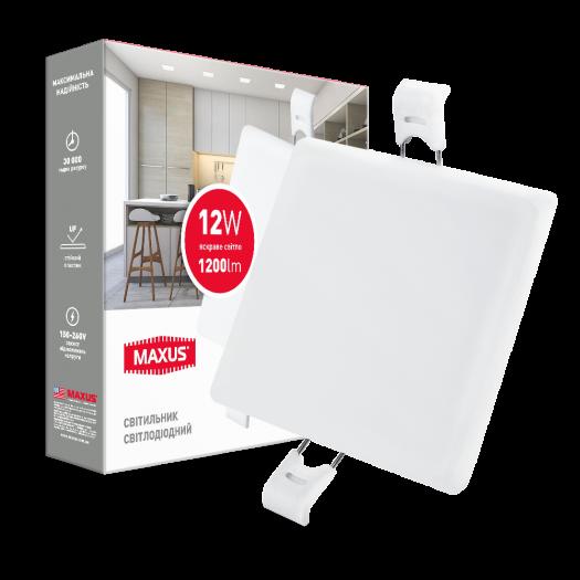 LED світильник точковий врізний MAXUS SP edge 12W, 4100К (квадрат)