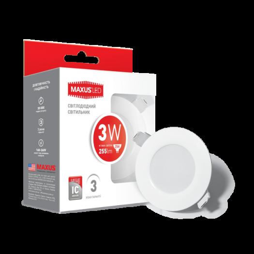 LED светильник точечный врезной MAXUS SDL, 3W теплый свет (1-SDL-010-01)