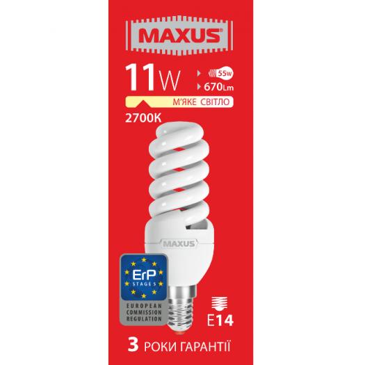 КЛЛ лампа 11W теплый свет SFS E14 220V (1-ESL-221-1)