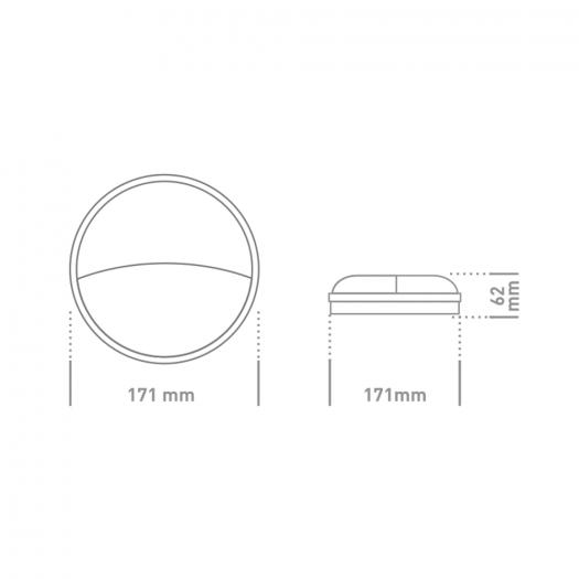 Антивандальный LED-светильник GLOBAL GBH 07 15W 5000K графит (круг)