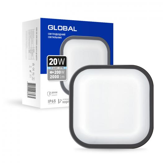 Антивандальний LED-світильник GLOBAL 1-GBH-08-2050-S 20W 5000K