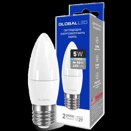 LED лампа Global C37 CL-F 5W яскраве світло E27 (1-GBL-132)