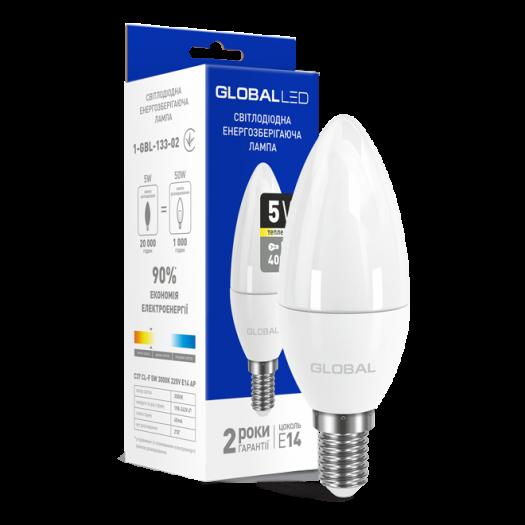 LED лампа Global C37 CL-F 5W тепле світло 220V E14 (1-GBL-133-02)