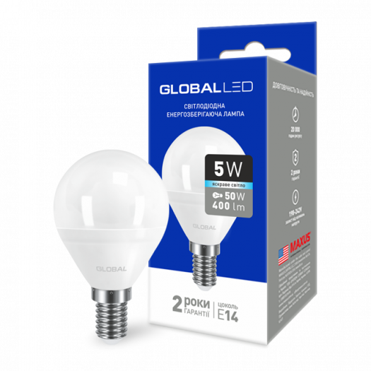 LED лампа Global G45 F 5W яскраве світло E14 (1-GBL-144)