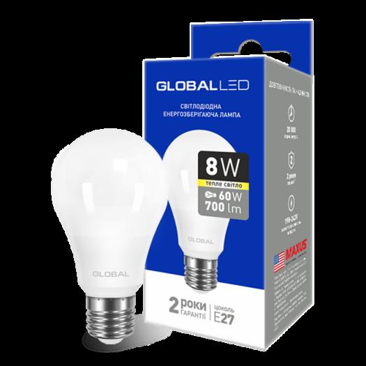 LED лампа GLOBAL A60 8W тепле світло E27 (1-GBL-161)