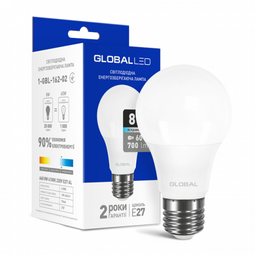 LED лампа GLOBAL A60 8W яскраве світло E27 (1-GBL-162-02)