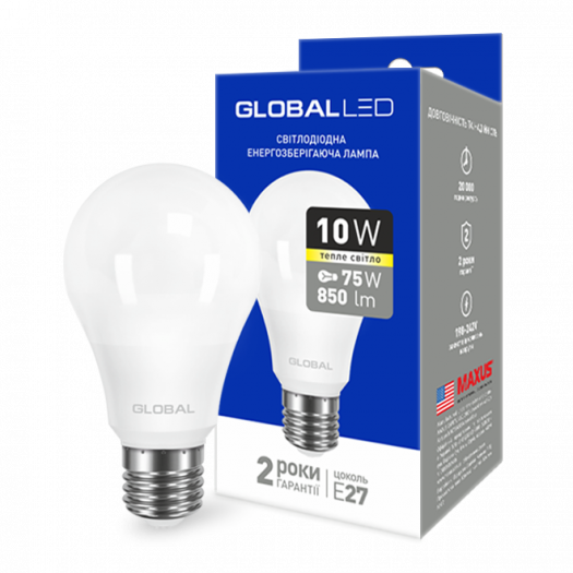 LED лампа GLOBAL A60 10W тепле світло E27 (1-GBL-163)