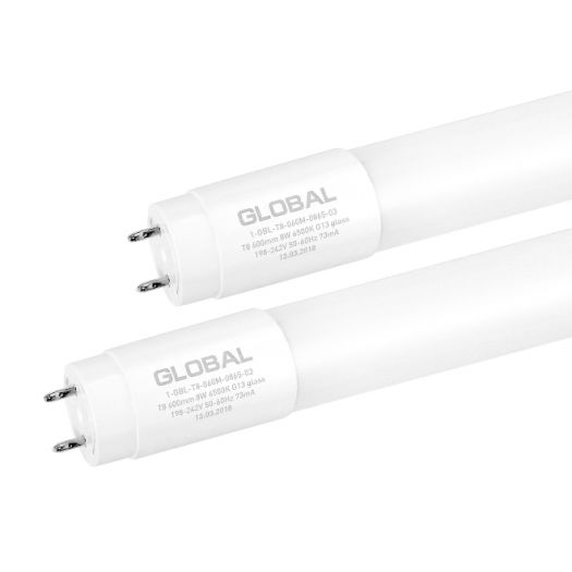 Лампа Т8 Global 600 мм 8W 4000K G13 (скло)