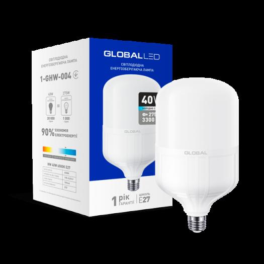 LED лампа (потужна) Global 40W 6500K E27 холодне світло (1-GHW-004)