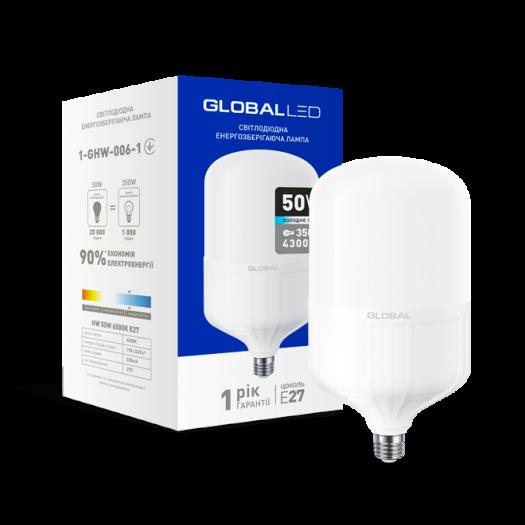LED лампа (потужна) Global 50W 6500K E27 холодне світло (1-GHW-006-1)