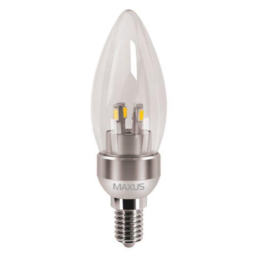 LED лампа MAXUS 4W яскраве світло C37 Е14 220V (1-LED-272)