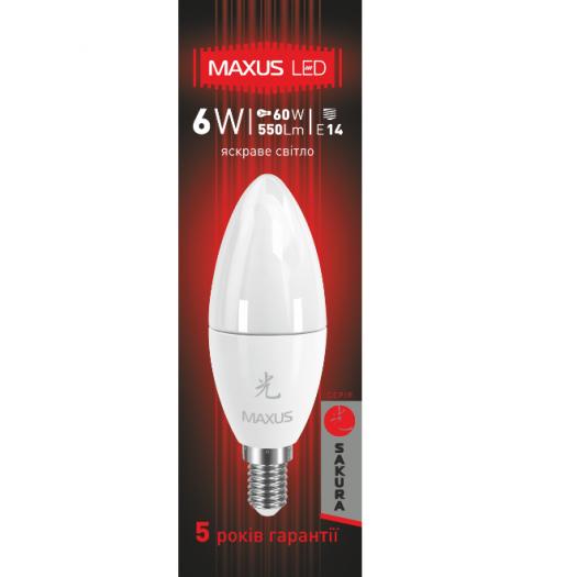 LED лампа MAXUS 6W яскраве світло C37 Е14 (1-LED-424)