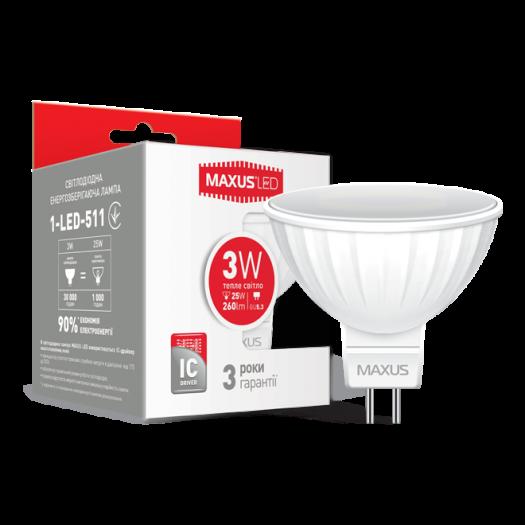 LED лампа Maxus MR16 3W тепле світло GU5.3 AP (1-LED-511)