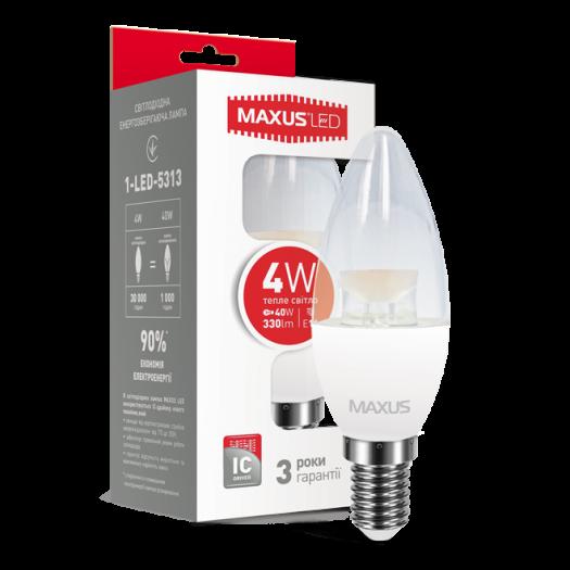 LED лампа Maxus C37 CL-C 4W тепле світло E14 (1-LED-5313)