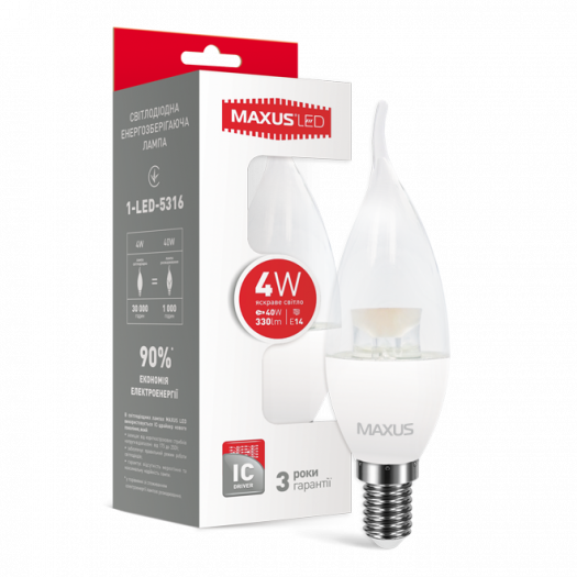 LED лампа Maxus C37 CL-T 4W яскраве світло E14 (1-LED-5316)
