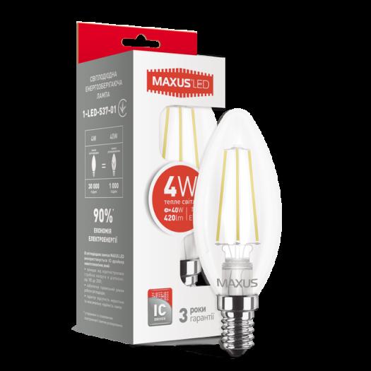 Лампа світлодіодна філаментна MAXUS C37 4W тепле світло E14 (1-LED-537-01)
