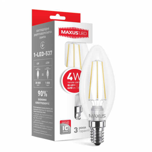 LED лампа MAXUS (filam), C37, 4W, теплый свет,E14 (1-LED-537)
